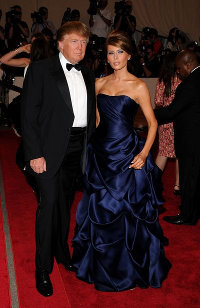 Melania Trump at the Met Gala 2010 <em>American Woman: Fashioning a National Identity</em>, wearing Christian Siriano, a designer who now refuses to dress the First Lady.