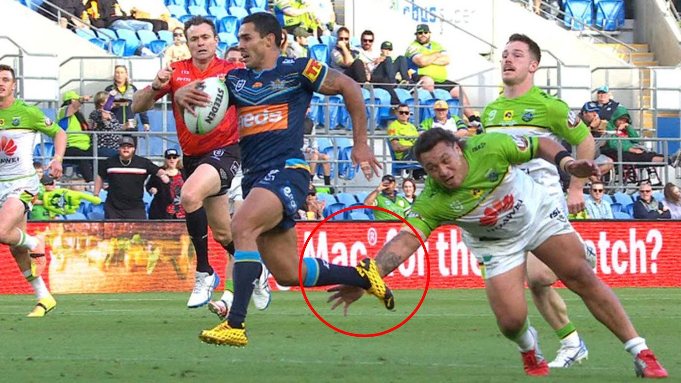 Canberra Raiders prop Josh Papalii puts in a contender for try-saver of the year