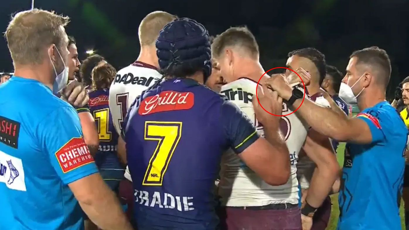 Melbourne and Manly hit with fines after trainers' involvement in qualifying final scuffle