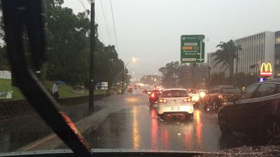 Flooding in Macquarie Park, NSW. (Rosemary Slade)