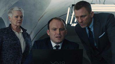Rory Kinnear, James Bond and Judi Dench in Skyfall.