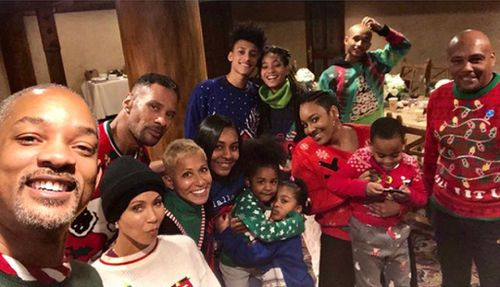 The Smith family's cheesy Christmas sweater post. (Instagram)
