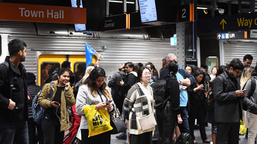 A train breakdown at Town Hall station in Sydney on Friday August 23, 2019 caused major delays and commuter chaos on the network.