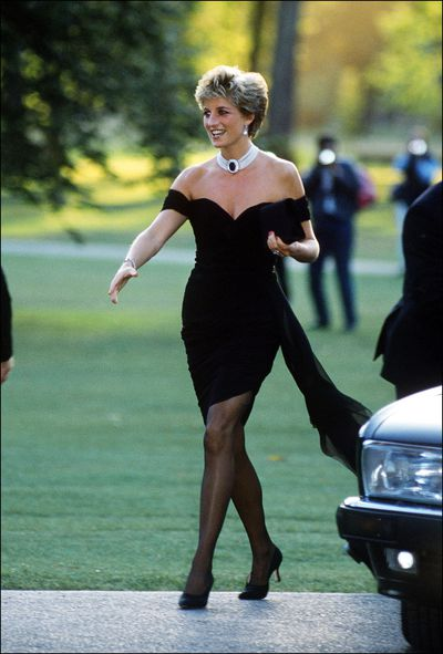 Diana, Princess of Wales in a black dress by Christina Stambolian at London's Hyde Park, June 1994