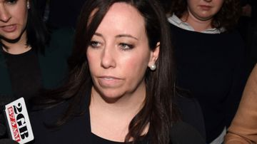 NSW Labor boss Kaila Murnain leaves The NSW Independent Commission Against Corruption (ICAC) public inquiry