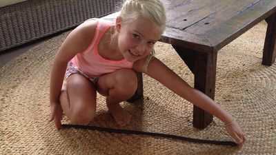 """<p>When Queensland mother Tamara Simoneau  first saw a giant earthworm hiding out in her garage on the Sunshine Coast she thought it was a snake. </p><p> A 60cm-long earthworm showed up two weeks ago, just before Tropical Cyclone Marcia hit the Central Queensland coast, followed only days later by a metre-long worm that appeared on the back deck. </p><p> """"That one seemed bigger, and that was more shocking at the time,"""" Mrs Simoneau told ninemsn. </p><p> """"It's still shocking because it's this big, long black thing on your straw mat."""" </p><p> </p>"""