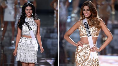 Miss Mexico Wendy Esparza and Miss Colombia Ariadna Gutierrez. (Getty)