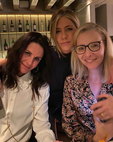 Jennifer Aniston with Friends co-stars Courteney Cox and Lisa Kudrow.