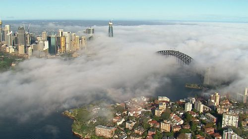 Sydney landmarks vanished to the eye as fog crawled across the Harbour.