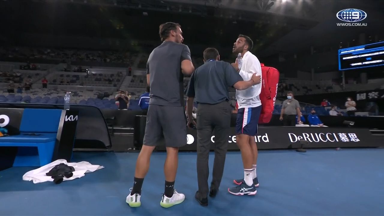 Fabio Fognini and Italian countryman Salvatore Caruso separated by security after five-set marathon