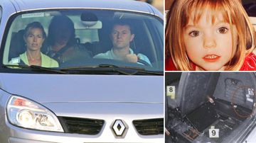 Kate and Gerry McCann, Madeleine McCann and police photographs of car boot where dogs alerted and DNA samples were lifted.