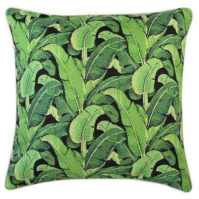 "Banana leaf cushion $79.95, <a href=""http://www.escapetoparadise.com.au/tropical-range/"" target=""_blank"">Escape to Paradise</a>."
