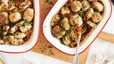 """Recipe:&nbsp;<a href=""""http://kitchen.nine.com.au/2016/07/28/14/51/baked-chicken-and-sausage-with-aioli"""" target=""""_top"""">Baked chicken and sausage with aioli<br /> <br /> </a>"""