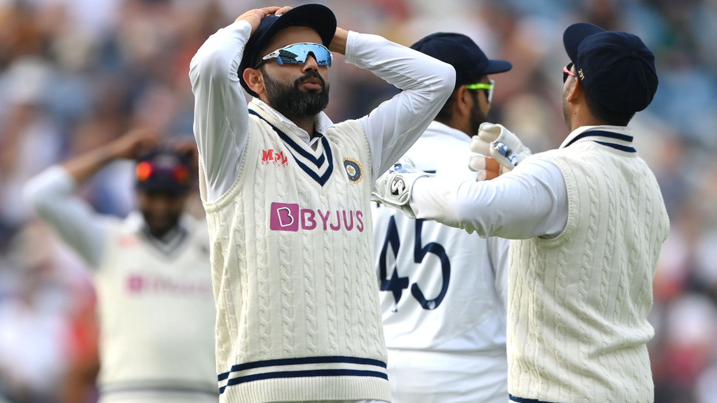 India captain Virat Kohli and his slips react after a near miss during day one of the Third Test Match between England and India at Emerald Headingley Stadium on August 25, 2021 in Leeds, England. (Photo by Stu Forster/Getty Images)