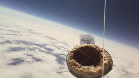 A Bakewell pudding has been declared lost after it was launched into the earth's stratosphere by pupils from S. Anselm's School in Derbyshire on June 18, 2017.