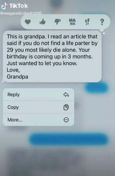 Grandfather text to granddaughter single TikTok