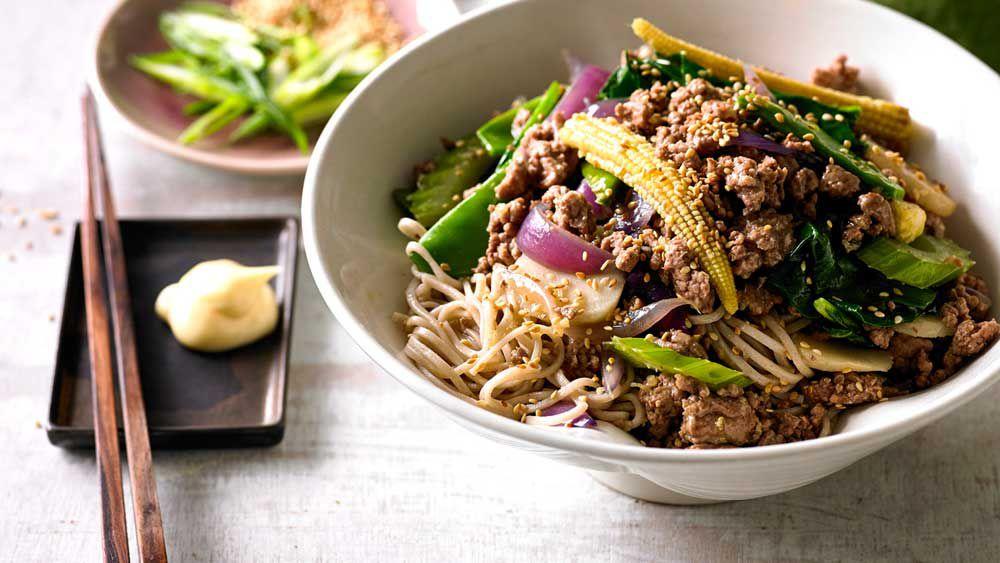 Stir-fried plum lamb with soba noodles