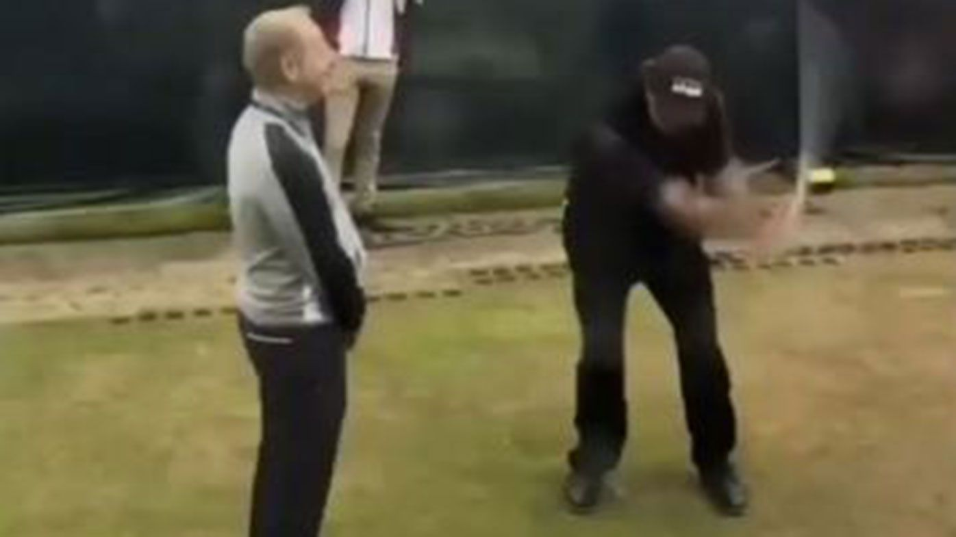 Phil Mickelson plays one of his famous trick shots