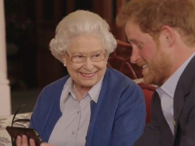 The Queen and Prince Harry in a 2016 Invictus Games video