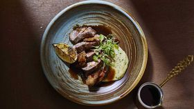 1821's lamb souvla style with crackling, potato puree