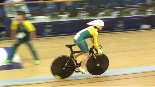 For the win: Anna Meares cycles to victory at the Commonwealth Games in Glasgow.