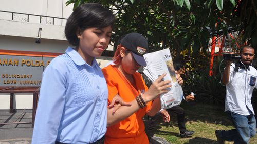 Police take Robert Ellis's Indonesian wife of 25 years, Noor Ellis from her detention cell to an investigation room in the Crime Detectives Division of Bali Provincial Police. (AAP)