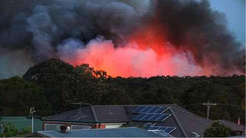 Homes in direct view of a fire at Richmond Vale. (JWMEDIA)