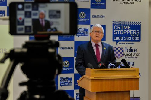 Detective Superintendent Des Bray, officer in charge of Major Crime, tells the media about the historic murder charge today. Picture: AAP