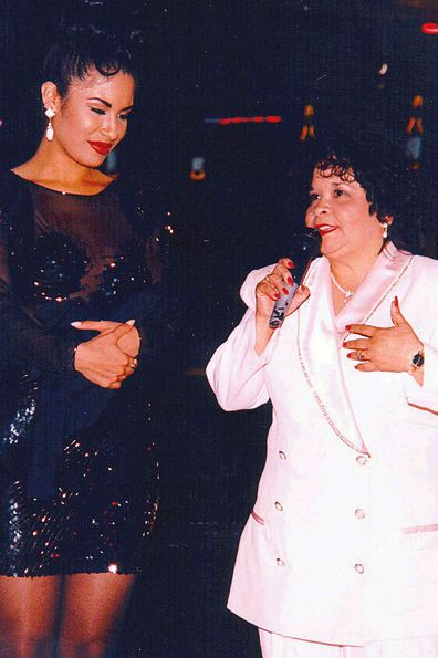 Selena Quintanilla-Pérez and the fan club president who would go on to kill her, Yolanda Saldivar. (AP)