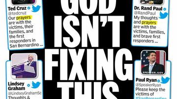 """God Isn't Fixing This"". (Twitter/@NYDailyNews)"