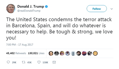 US President Donald Trump initially send this tweet about the Barcelona terror attack