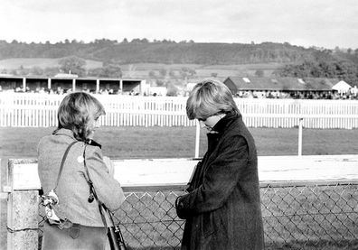 Princess Diana and Camilla Parker-Bowles Ludlow racecourse to watch the Amateur Riders Handicap Steeplechase in which the Prince was competing.