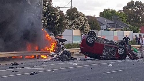 Three people have died in an horrific fiery crash in Melbourne. (Supplied)