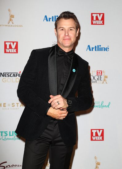 Rodger Corser arrives at the 61st Annual TV Week Logie Awards wearing a blue pin for Australia Says No More