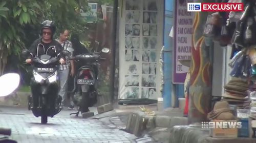 The 39-year-old zoomed around the island on a scooter. (9NEWS)