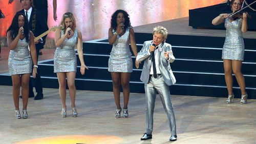 Rod Stewart performs for the crowd at the opening ceremony of the Commonwealth Games in Glasgow. (Getty).
