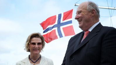 His Majesty King Harald V and Queen Sonja of Norway speak to the media after a visit to the Royal Sydney Yacht Squadron, Kirribillii. 24th February 2015.