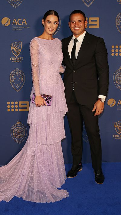Usman Khawaja and his partner Rachel McLellan.