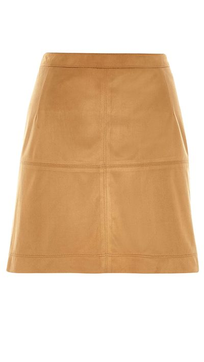 "<a href=""http://au.riverisland.com/women/skirts/a-line-skirts/brown-faux-suede-a-line-skirt-667641"" target=""_blank"">Faux Suede A-Line Skirt, $50, River Island</a>"