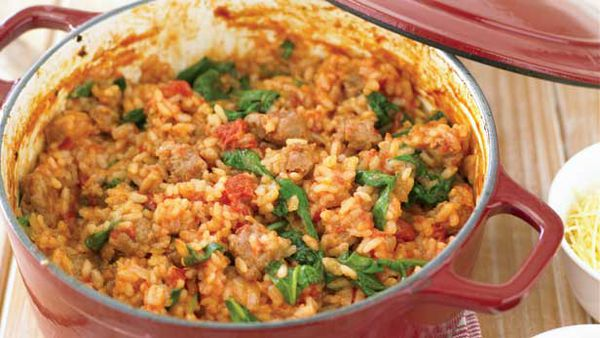 Sausage and spinach baked risotto