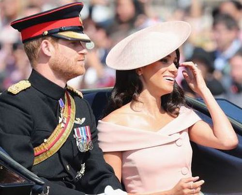 The Duke and Duchess of Sussex during the carriage procession along The Mall at Trooping The Colour.