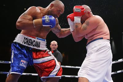 Former NRL player Solomon Haumono has jumped into the world's top 10 for the first time but did his hopes of a heavyweight title shot no favours with an unimpressive knockout win over Argentinian veteran Manuel Alberto Pucheta. <em>Click through to watch video of the KO.</em>