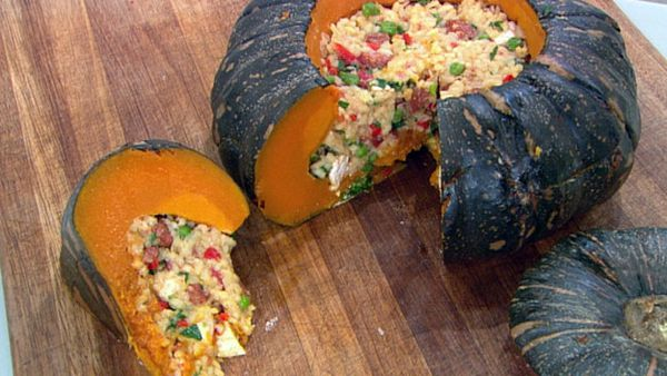 Paella-filled whole pumpkin