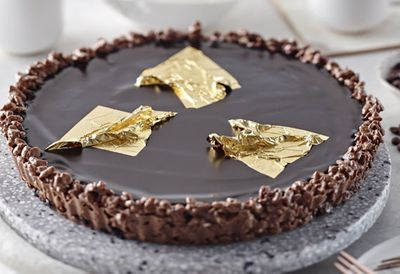 Hazelnut coffee gold leaf tart