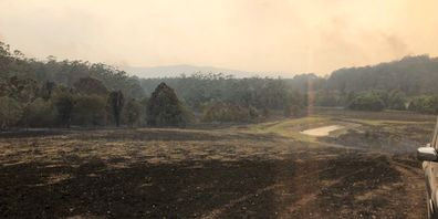 A photo taken by Russell Crowe at his NSW country property after it was ravaged by bushfires.