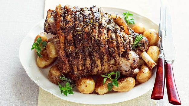 Greek-style roast lamb with potatoes