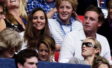 Kate Middleton and Zara Phillips watch the Concert for Diana from the Royal Box at Wembley Stadium on July 1, 2007 in London, England.