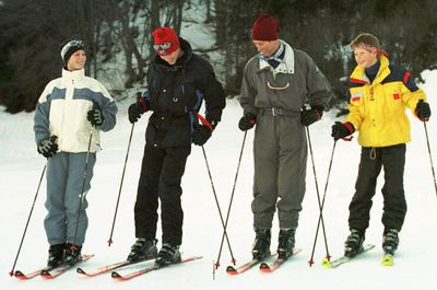 Zara goes skiing with Princes Charles, William and Harry, 1998