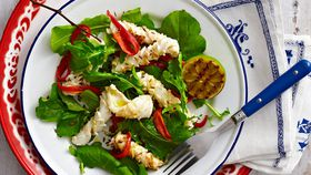 Barbecued squid, lime and chilli salad
