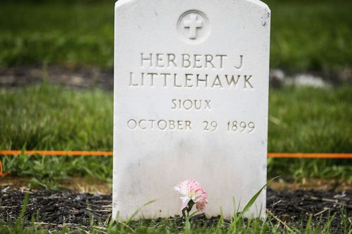 A gravesite of Herbert Littlehawk at the cemetery at the Carlisle Indian School in Carlisle, Pa. Littlehawk, an American Indian student who was taken from his family.